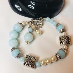 Bracelet, blue, silver and pearl